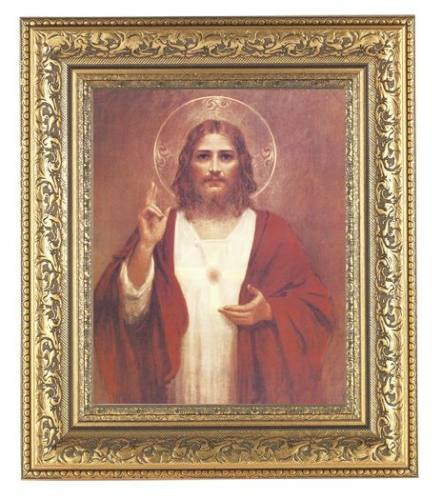 Print Jesus Sacred Heart 8 X 10 Inch Gold Framed Generations
