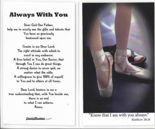 Prayer Card Ballet Dance Laminated