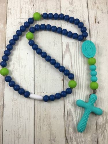 Chews Life Teething Rosary Navy and Green