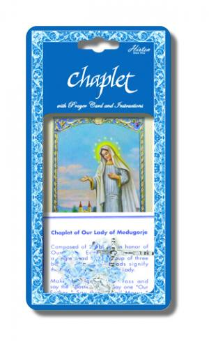 Chaplet Rosary Our Lady of Medjugorje Oxidized Silver Blue Beads