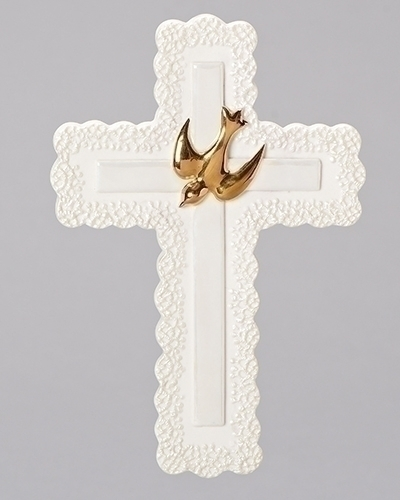 Cross Wall Confirmation 7 inch Lace Porcelain Gold Dove