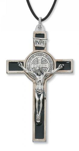 Crucifix Pendant St Benedict 3 inch Silver Enameled Black