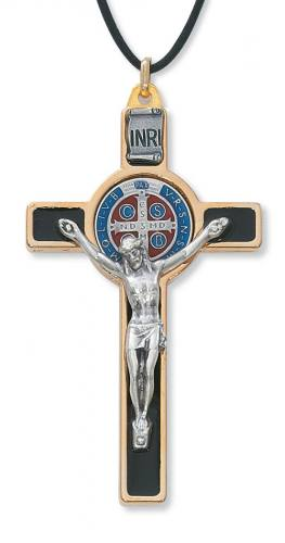 Crucifix Pendant St Benedict 3 inch Gold Enameled Black Color