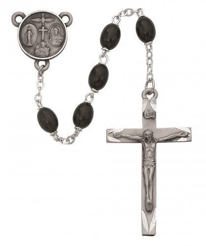 Rosary Four Way Medal Pewter Silver Black Wood Beads