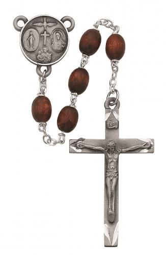 Rosary Four Way Medal Pewter Silver Brown Wood Beads
