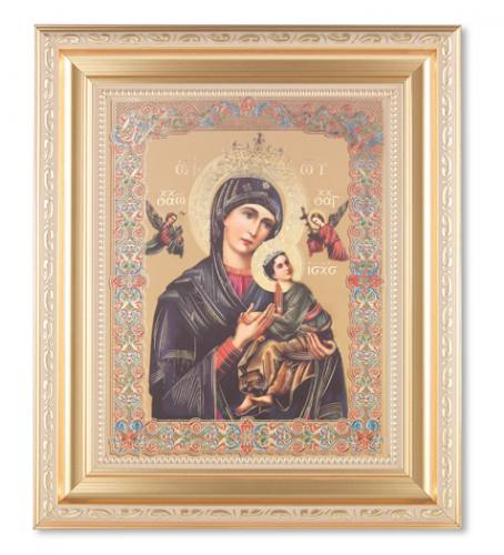 Print Mary Our Lady Perpetual Help 8 x 10 inch Gold Trim Framed