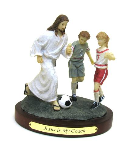 "Statue ""Jesus is My Coach"" Soccer Resin Painted"