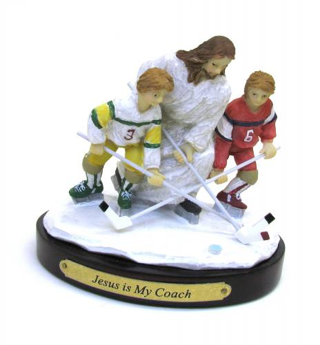"Statue ""Jesus is My Coach"" Ice Hockey Resin Painted"