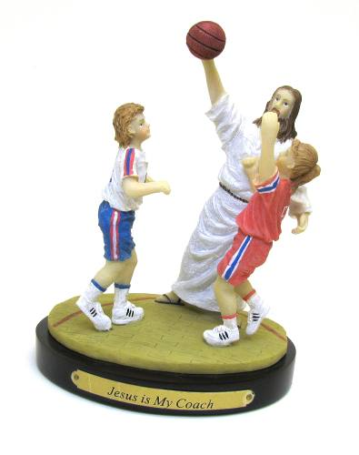 "Statue ""Jesus is My Coach"" Basketball Resin Painted"