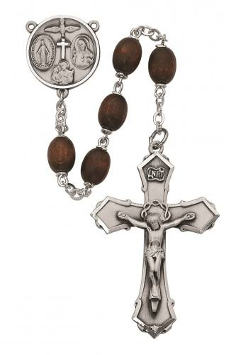 Rosary Four Way Medal Sterling Silver Brown Wood Beads