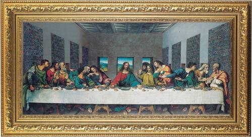 Print The Last Supper Da Vinci 14 x 26 inch Gold Wood Frame