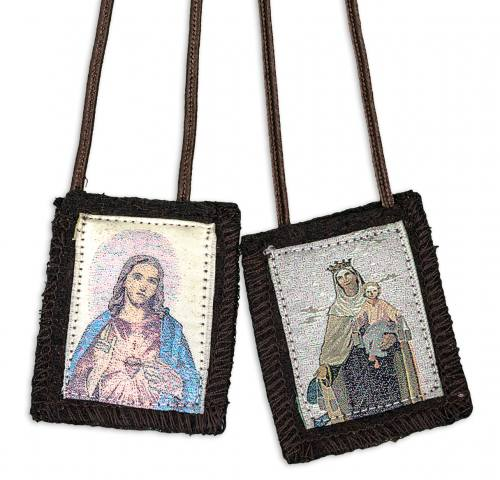 Scapular Brown Carmel Jesus Sacred Heart 100% Wool