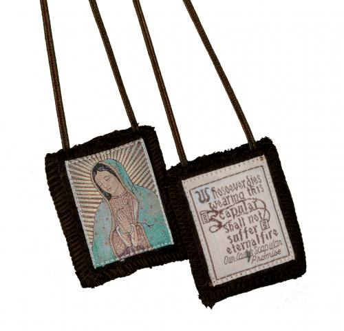 Scapular Brown Carmel Mary Our Lady of Guadalupe 100% Wool