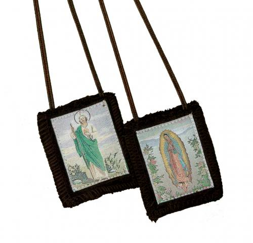 Scapular Brown Mary Our Lady of Guadalupe St Jude 100% Wool