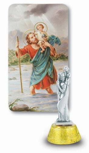 Dashboard Statue St Christopher 2 inch Pewter Silver