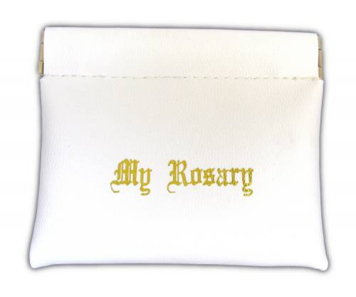 "Rosary Case ""My Rosary"" Leatherette Snap Pouch White"