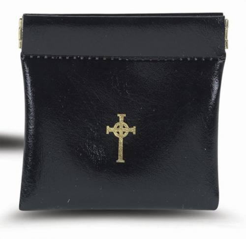 Rosary Case Leatherette Oversized Snap Pouch Black