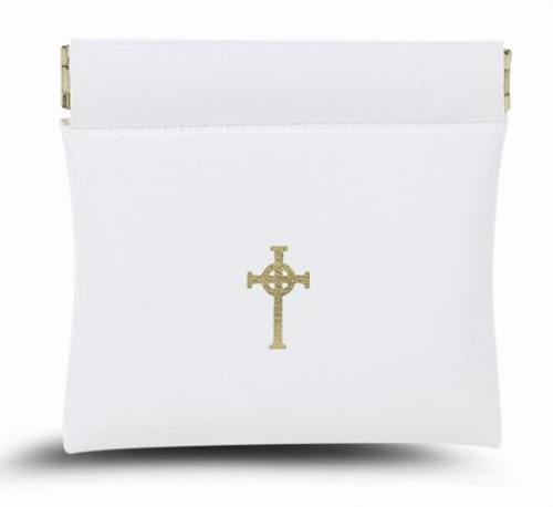Rosary Case Leatherette Oversized Snap Pouch White