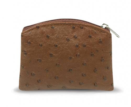 Rosary Case Ostrich Zipper Pouch Brown