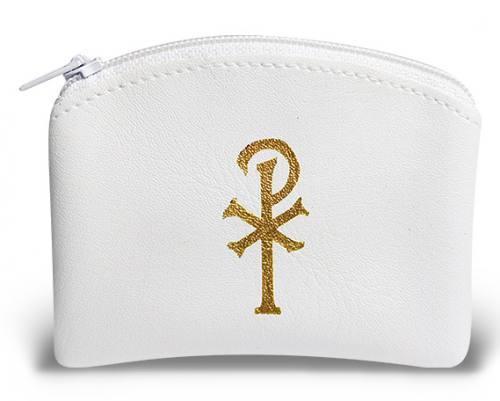 Rosary Case Leatherette Zipper Pouch White