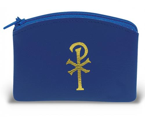 Rosary Case Leatherette Zipper Pouch Blue