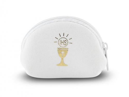 Rosary Case First Communion White Chalice