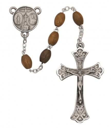 Rosary Four Way Medal Sterling Silver Olive Wood Beads