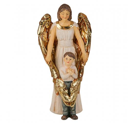 Statue Guardian Angel With Boy 4 inch Resin Painted Boxed