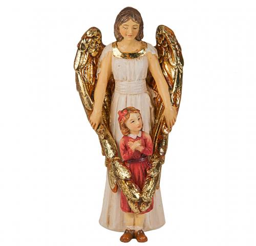 Statue Guardian Angel With Girl 4 inch Resin Painted Boxed