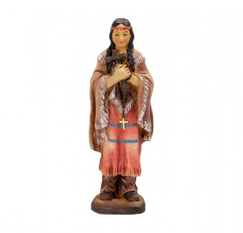 Statue St Kateri Tekakwitha 4 inch Resin Painted Boxed
