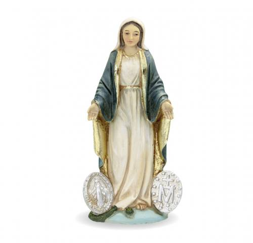 Statue Our Lady of Miraculous Medal 4 inch Resin Painted Boxed