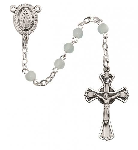 Rosary Baptism Miraculous Medal Pewter Silver Blue Glass Beads