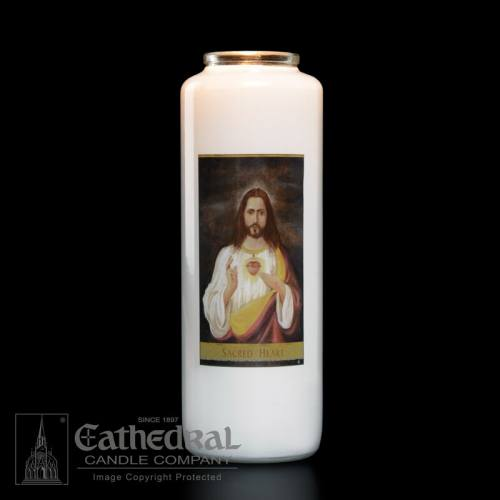 Sacred Heart of Jesus 6 Day Glass Bottle Candle
