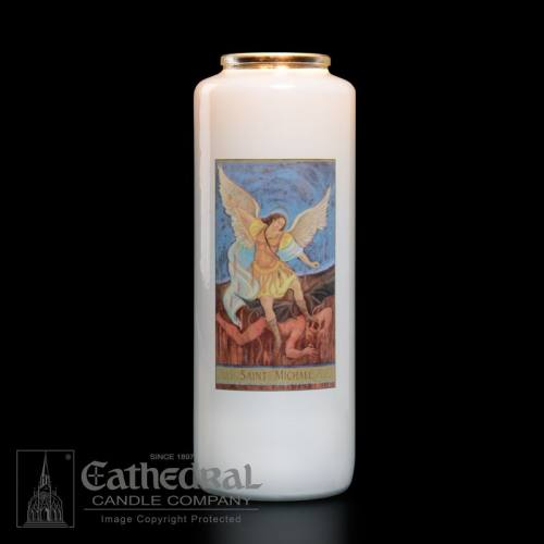 St. Michael 6 Day Glass Bottle Candle