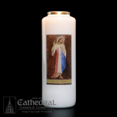 Divine Mercy 6 Day Glass Bottle Candle