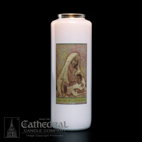 Our Lady of Czestochowa 6 Day Glass Bottle Candle