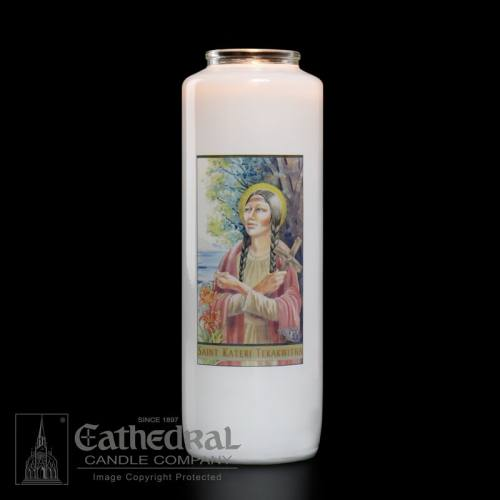 St. Kateri Tekakwitha 6 Day Glass Bottle Candle