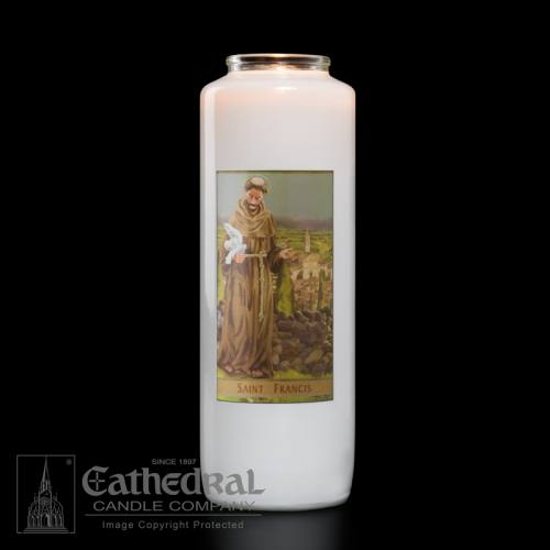 St. Francis 6 Day Glass Bottle Candle