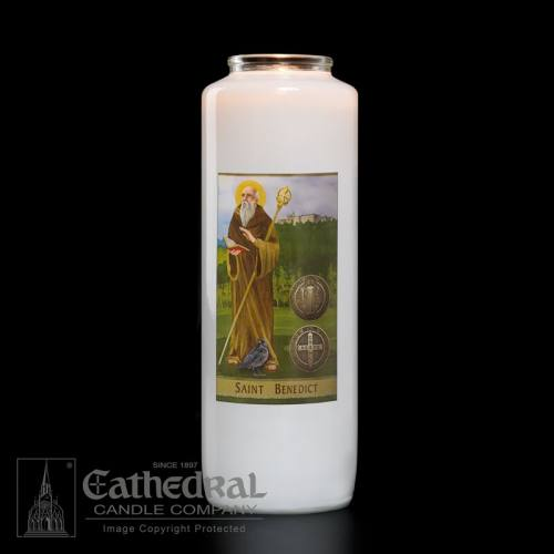 St. Benedict 6 Day Glass Bottle Candle