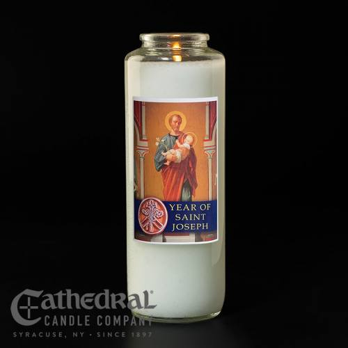Year of St. Joseph 6 Day Glass Bottle Candle
