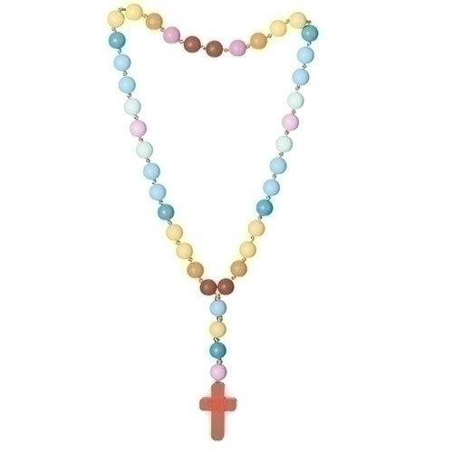 Mommy and Me Chewable Rosary Necklace Rainbow Silicone