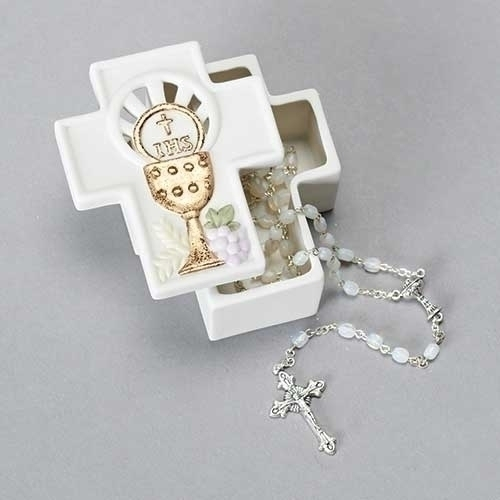 Rosary Box First Communion Chalice Cross Porcelain