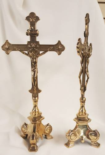 Double Sided Standing Altar Crucifix