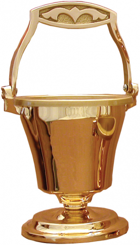 Holy Water Pot and Sprinkler Set Bronze