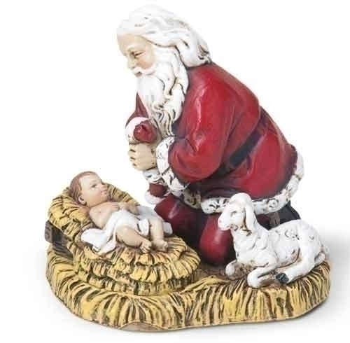 Ornament Kneeling Santa and Baby Jesus 2.5 Inches