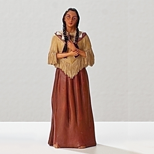 Statue St Kateri Tekakwitha 3.5 inch Resin Painted Boxed