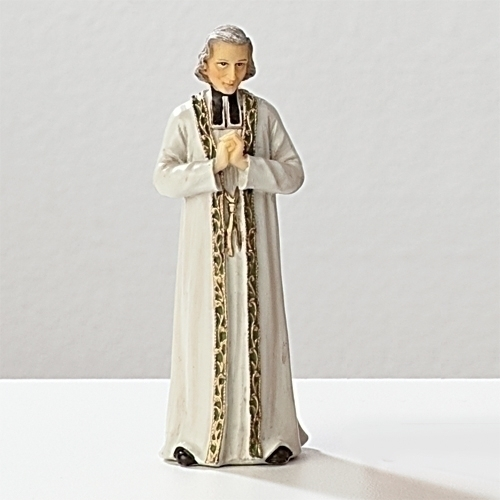 Statue St John Vianney 3.5 inch Resin Painted Boxed