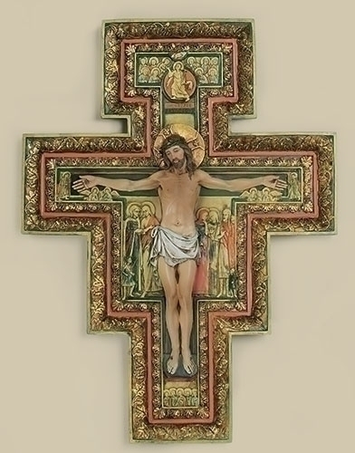 Crucifix Wall San Damiano 10.75 inch Resin Painted