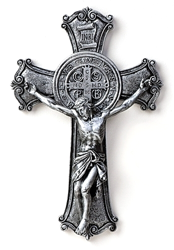 Crucifix Wall St Benedict Medal 10.25 inch Resin Painted Silver