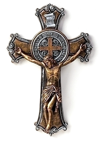 Crucifix Wall St Benedict Medal 10.25 inch Resin Painted Bronze